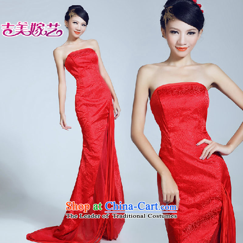 Wedding dress Kyrgyz-american married arts new video   2015 thin tail dress LT6030 bride dress red�XL