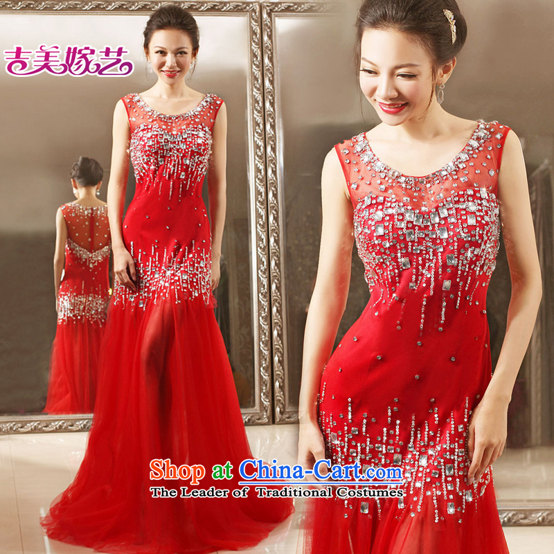 Wedding dress Kyrgyz-american married arts 2015 New 2 Korean dress LS7300 shoulder to align the bride dress red�S