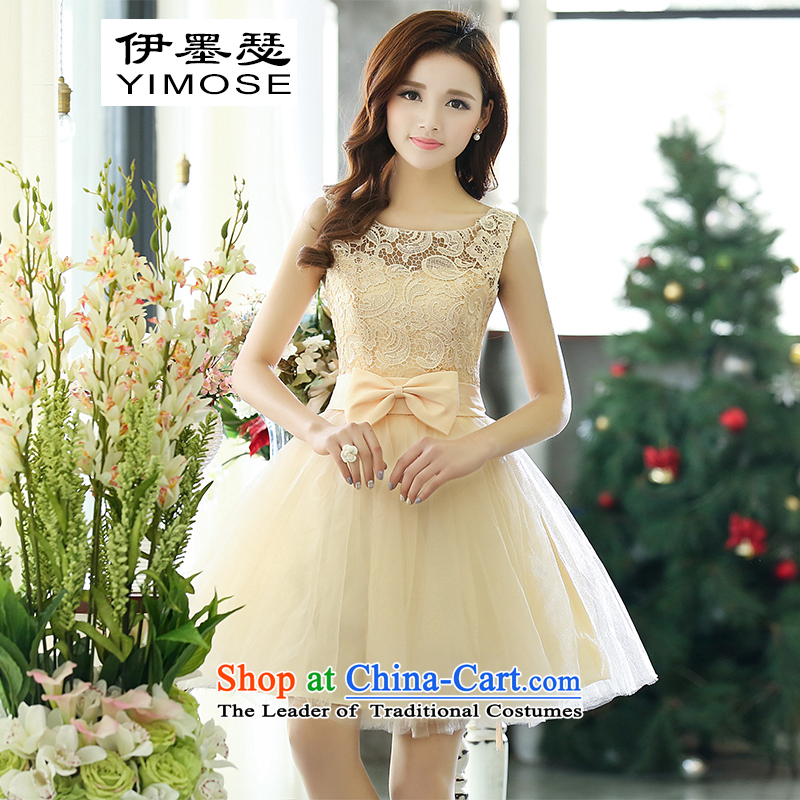 El ink Joseph dress female 2015 new temperament dresses bows service bridal dresses skirt bridesmaid dress Korean video thin Princess Sau San skirt rice white M