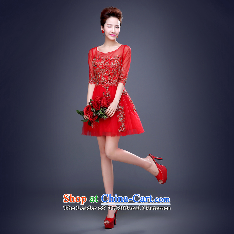 Jie mija bows Service, Mr Ronald 2015 new marriages a field shoulder red wedding betrothal festival evening dresses female red sleeved XL