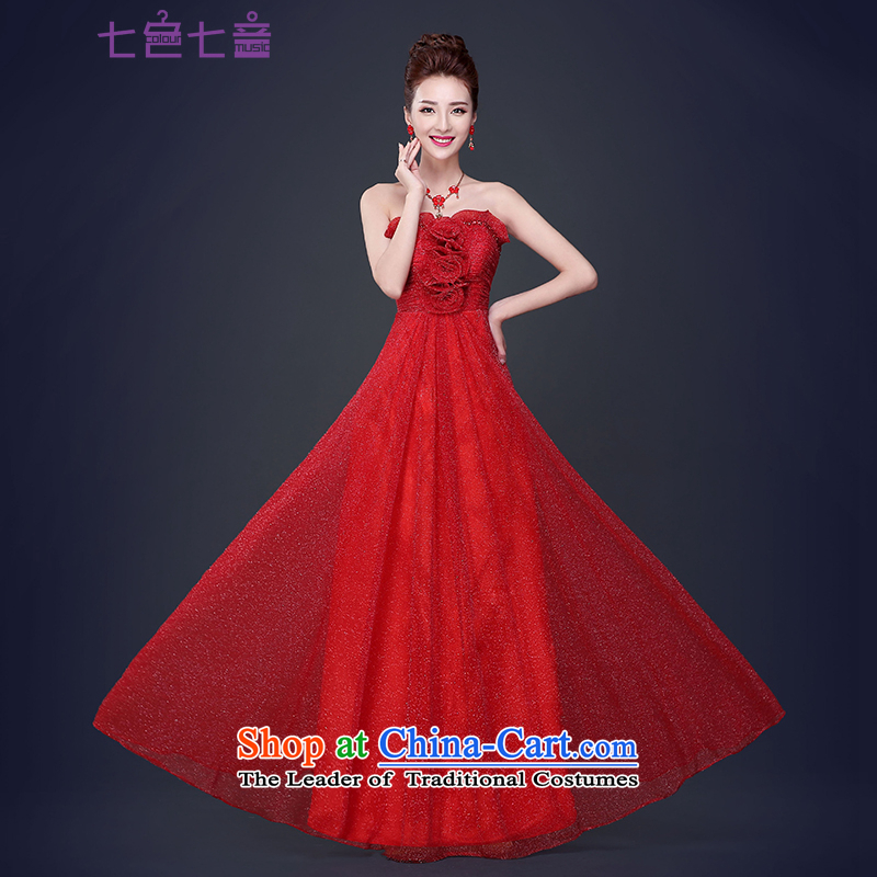 7 7 color tone?2015 new bride bows Services Mr Ronald long wedding Wedding Dress Short, wipe the chest evening dresses red female?L046 Sau San?red long?S