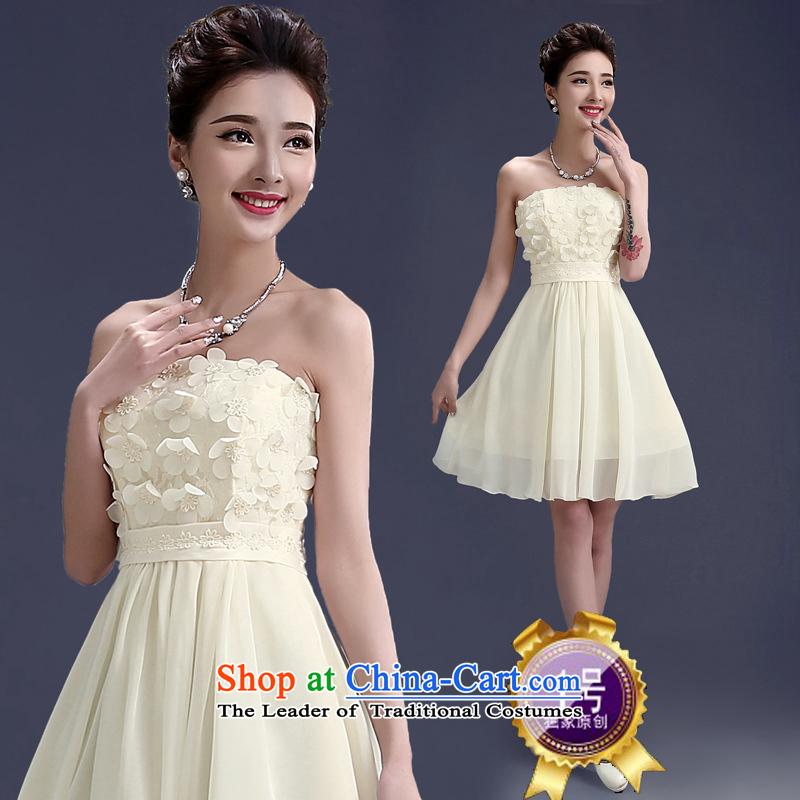 Joshon&joe?wedding dresses bridesmaid short of dress small short skirts bridesmaid mission stylish champagne evening dress chiffon small dress?No. 1?XL