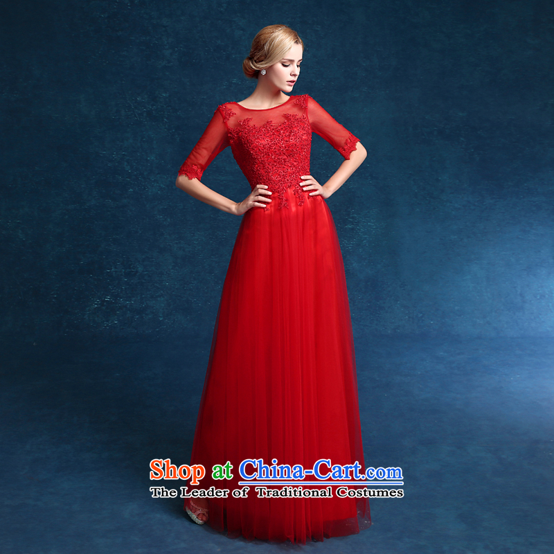 Each Service Bridal Fashion Connie followed by 2015 Summer New Red wedding dresses in long-sleeved marriage evening dresses lace red tailored does not allow