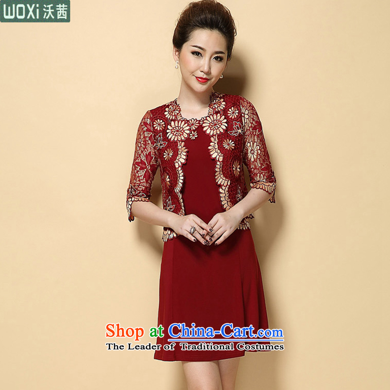 ?In 2015, the elderly, Mrs Rosanna Ure, Kosovo large wedding wedding mother with two piece suits in the skirt women 6351 sleeved red _pre-sale on 26 July shipment_ L