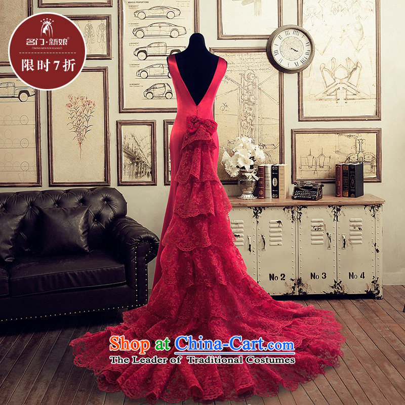 A Bride wedding dresses?2015 Summer tail wedding word shoulder continental?2,259?RED?M