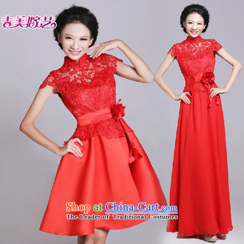 Wedding dresses bride small stylish bows service improvement 2015 New 6021 red retro lace short qipao short?M