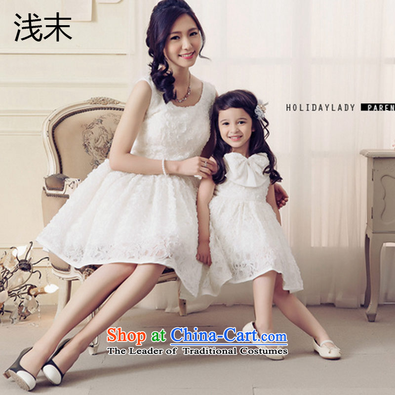 The end of the light (MO) Korean QIAN sweet rose embroidered with a bow tie big petticoats dress skirt summer parent-child AK103-AK303 children white 120CM