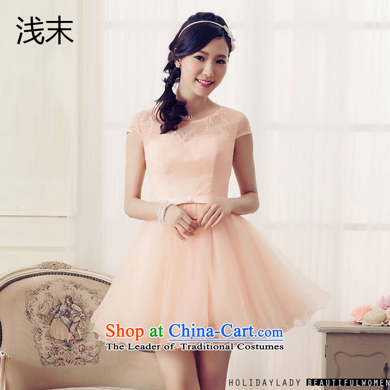 The end of the light _MO_ sweet positioning QIAN blossoms silk princess short-sleeved bon bon skirt princess van dress 6703 skirt pink?L
