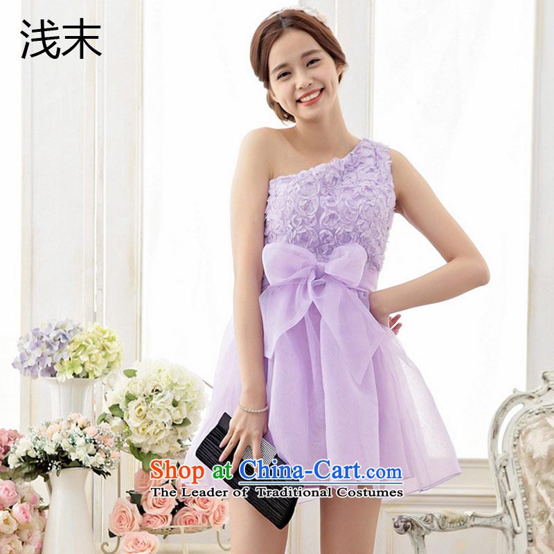 The end of the light (QIAN MO) sweet rose embroidered Single twine bow knot the shoulder yarn bon bon skirt princess dress 6705 skirt purple�M