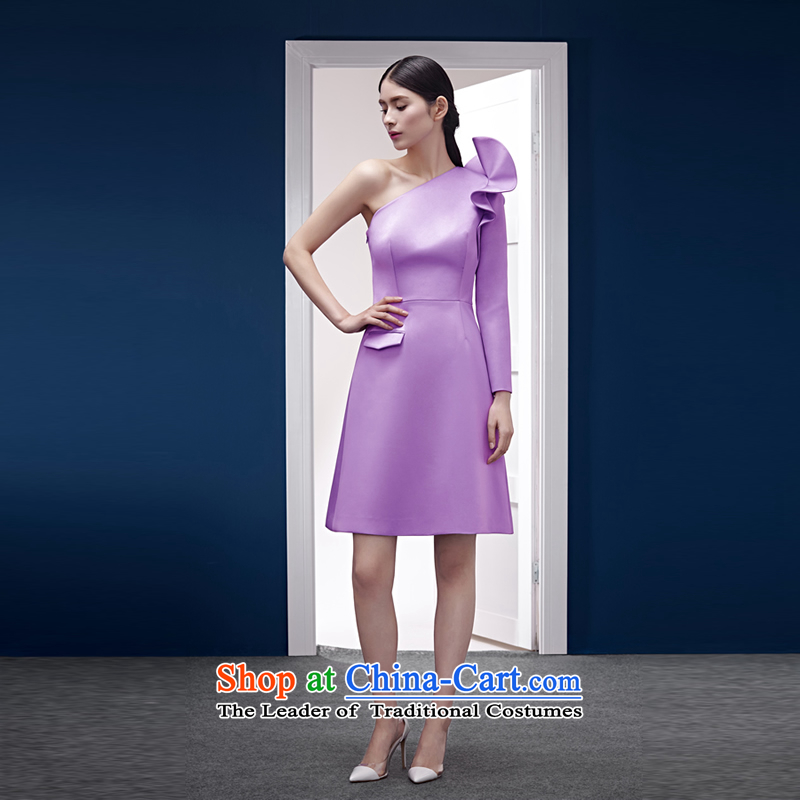 Mr Abraham YE'S original designer brands Light Violet satin shoulder billowy flounces decorated light dress with a light purple�M