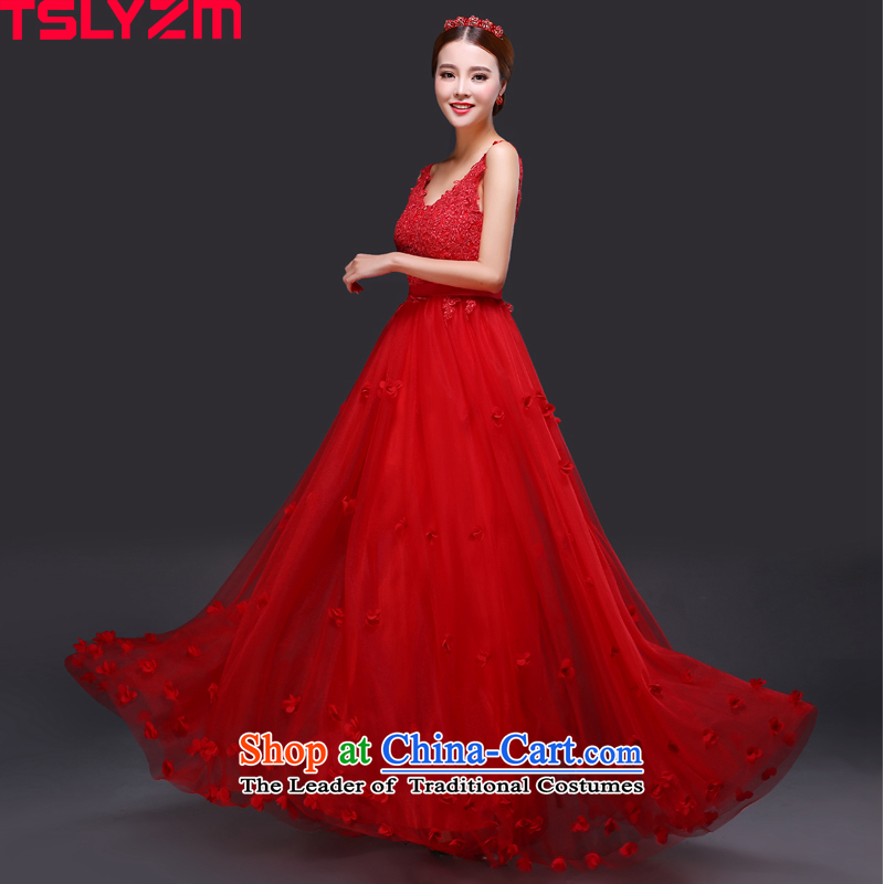 Tslyzm bride lace bows services shoulder back water drilling evening dresses long 2015 new autumn and winter Foutune of video thin Top Loin of the persons chairing the pregnant woman dress RED?M