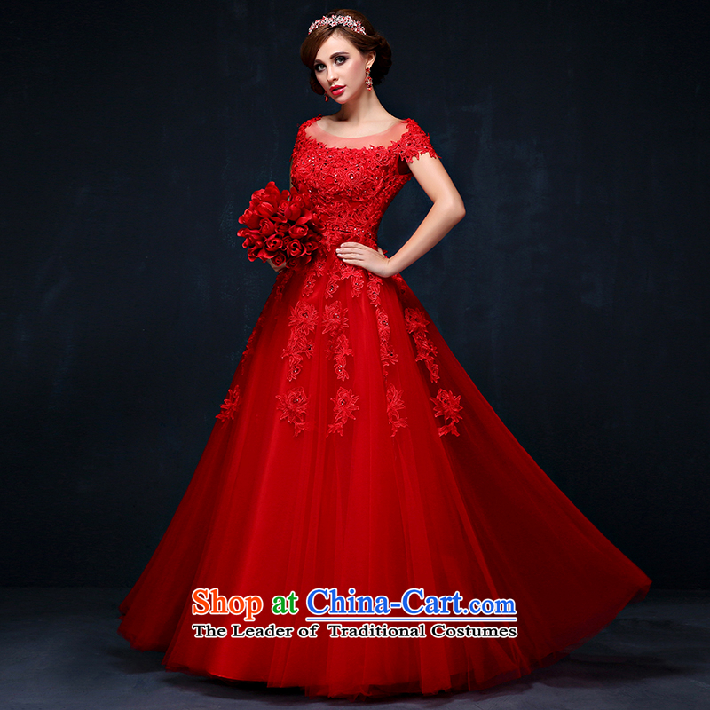 The bride dress bows services long summer 2015 new Korean lace bride services big red code followed the Sau San tie wedding red?L waist 2.2)