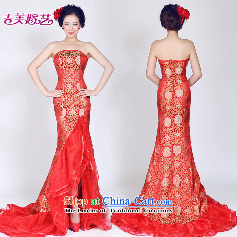 Wedding dress Kyrgyz-american married new anointed arts 2015 Korean Red Dress chest LT961 bridal dresses crowsfoot red?XS