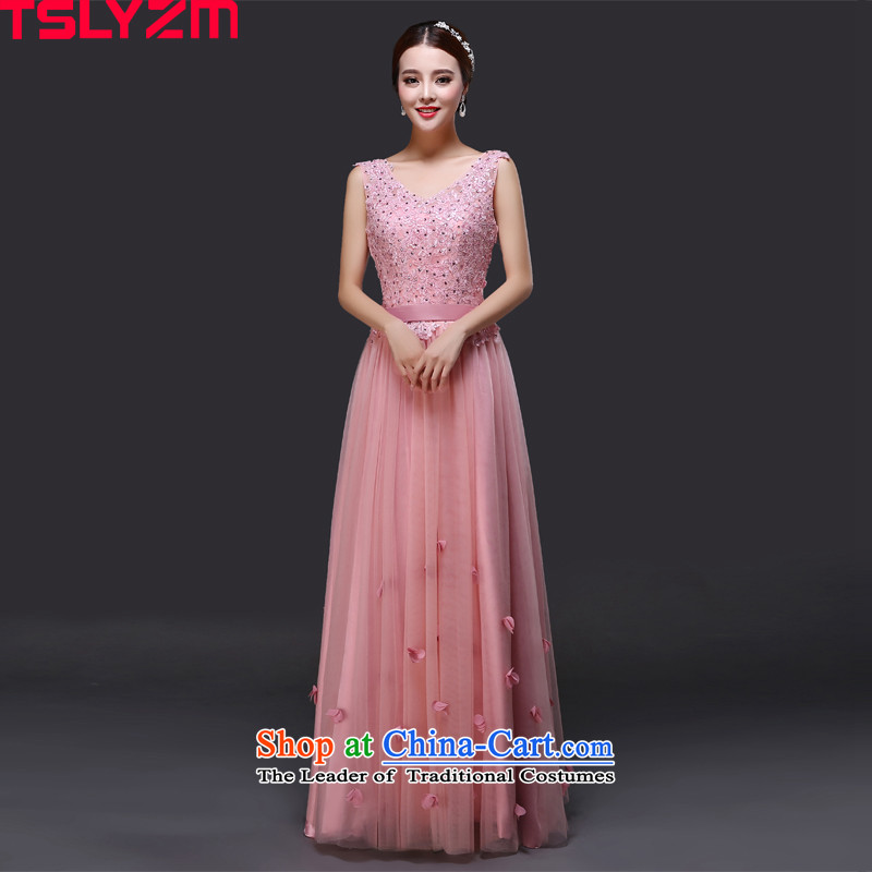 Tslyzm evening dresses long shoulders V-neck in the red by 2015 new autumn and winter bridesmaid service banquet Sau San video coltish waist chiffon dinner dress the usual zongzi female toner?XL