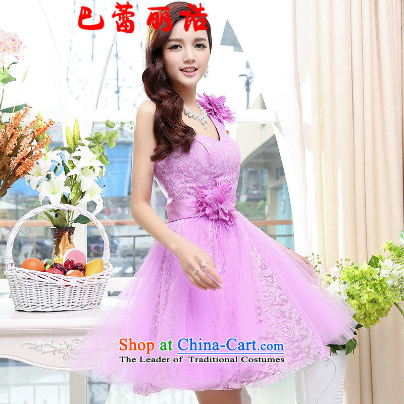The buds of 2015 New Lai straps shoulder bridesmaid mission Sau San small dress short skirt, bows to purple�XL
