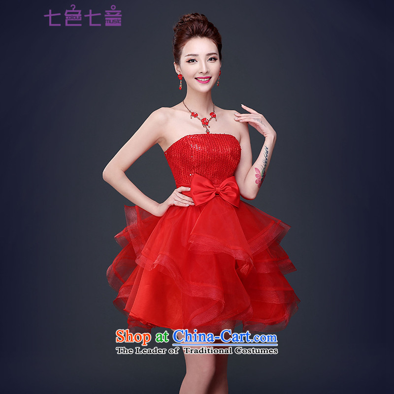 7 7 color tone�2015 new summer stylish anointed chest dresses married women dress banquet short bride bows to dress�L045�RED�S