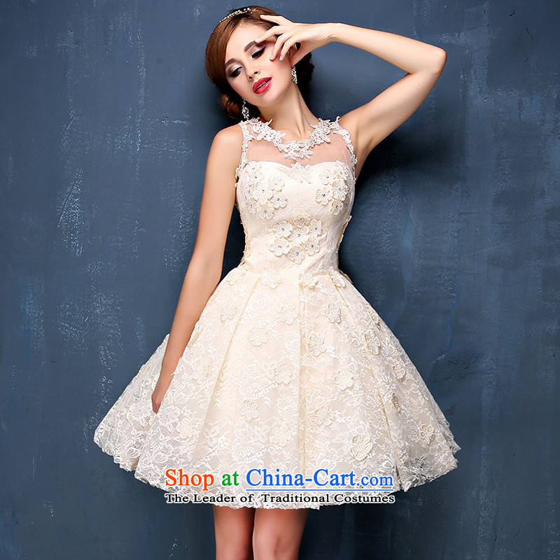 Bridesmaid champagne color small dress Summer 2015 new Korean short shoulders) Video thin banquet dinner dress champagne color?M waist 2.1)