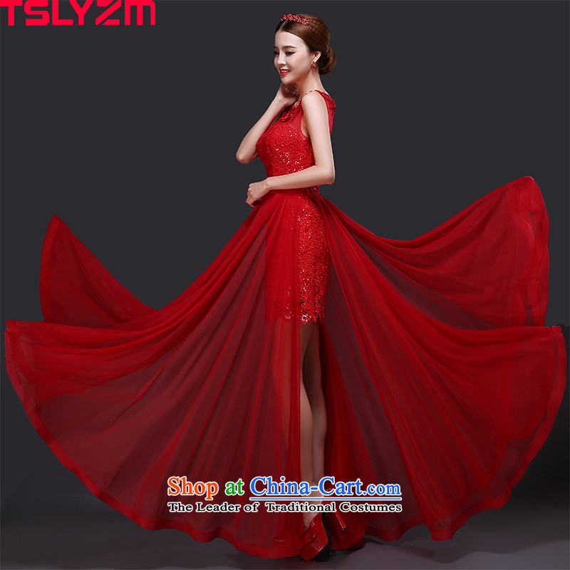 Tslyzm marriages bows dress long 2015 new bows to the autumn and winter shoulders video thin lace Korean style banquet evening dresses red red?S