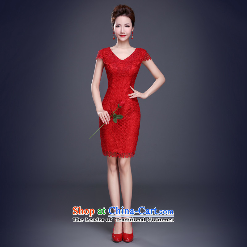 Jie Mija?2015 New Service Bridal Fashion bows Summer Wedding Dress Short of Qipao Sau San red lace female qipao red?L