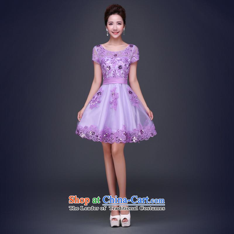 Jie Mija Evening Dress Short, 2015 NEW Summer purple short-sleeved lace banquet betrothal small Female dress will light purple female�XL