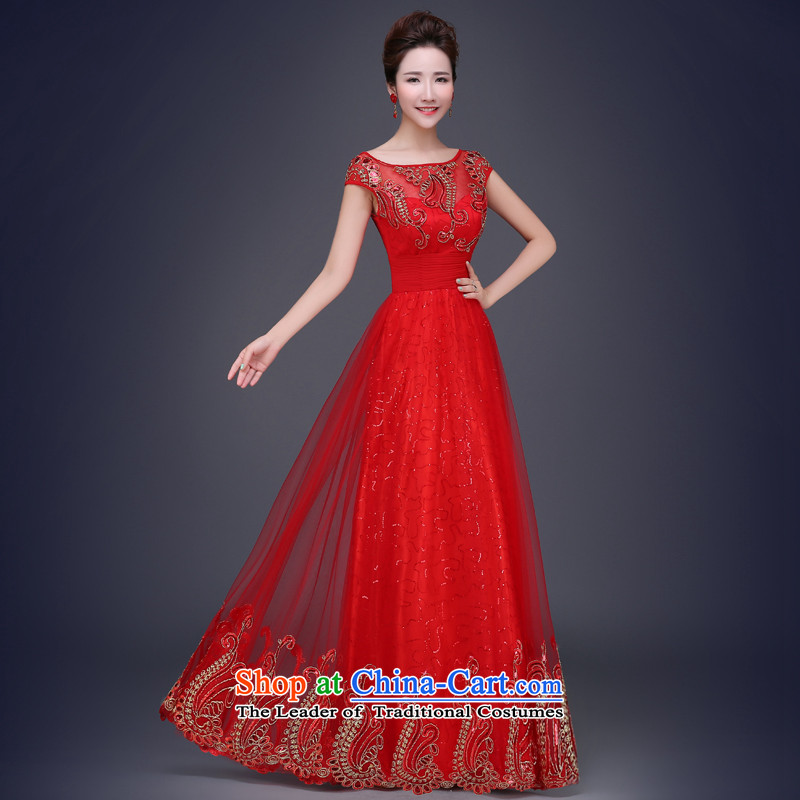 Jie mija bows Service, 2015 NEW Summer wedding dresses Red slotted shoulder lace marriages long evening dresses red long�L