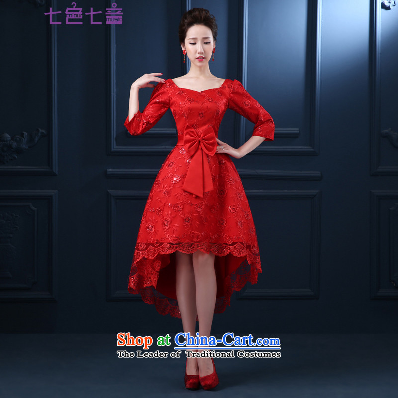 7 7 color tone?2015 new marriage, bridal bows red dress uniform pregnant women can be customized?L039?Red 7 Cuff?XXL