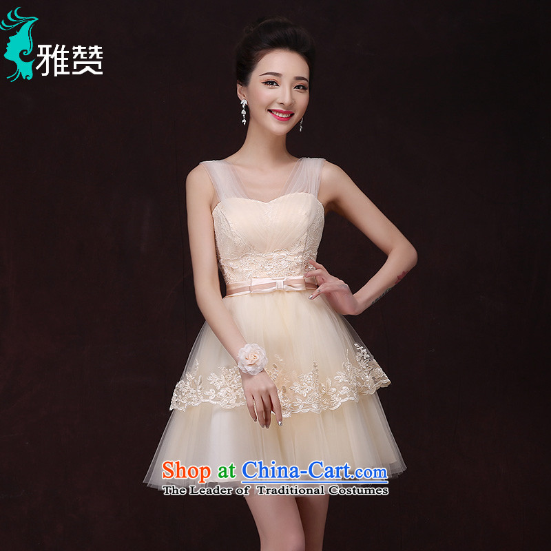 Jacob Chan bridesmaid to serve small Dress Short, 2015 new spring and summer graphics thin sister skirt moderator banquet dance evening dresses champagne color?L