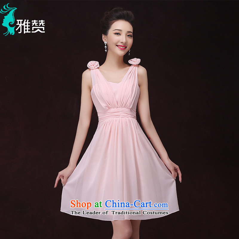 Jacob Chan Bridesmaid Dress Short of mission the summer and autumn of 2015 the new binding with single shoulder pink dresses or sisters who graduated from small countries such as bridesmaid to serve?a 2-V-Neck shoulder?XXL