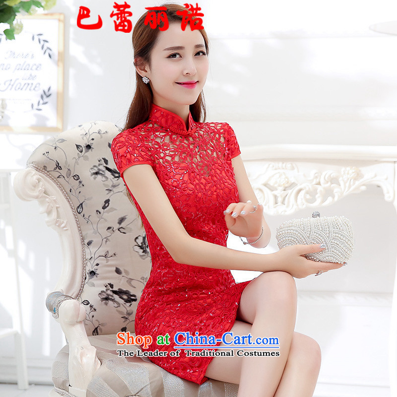 The buds of 2015 New Lai dress marriages red short skirts bridesmaid services bows dress Chinese Lace Embroidery Tang dynasty retro Phoenix wedding RED?M