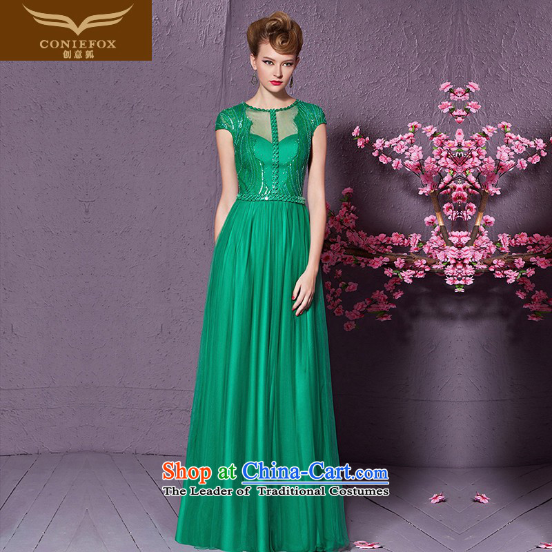 Creative聽New stylish 2015 Fox On-chip package shoulder evening dresses evening banquet dress long under the auspices of the annual meeting of the Sau San dress uniform 30898 bows green聽XXL