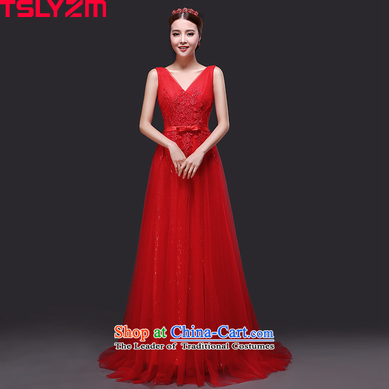 Tslyzm bride wedding dress shoulders V-Neck long tail bows to serve small 2015 new autumn and winter chiffon back twine bow knot banquet evening dresses red?S