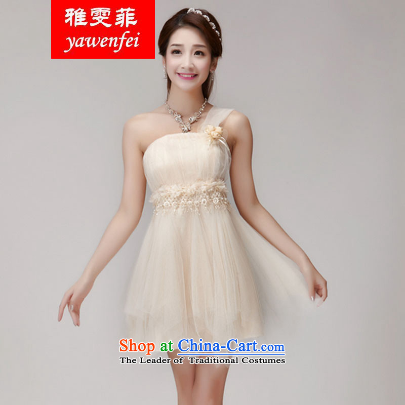 Ya Man Fei bridesmaid services 2015 new bridesmaid mission dress evening dresses and sisters skirts banquet in a small dress summer short apricot L
