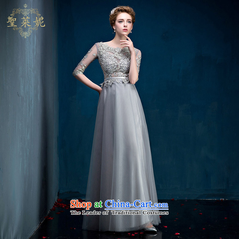 2015 Summer bride high-end evening dresses marriage gray long drink service lace engraving female wedding light gray�M