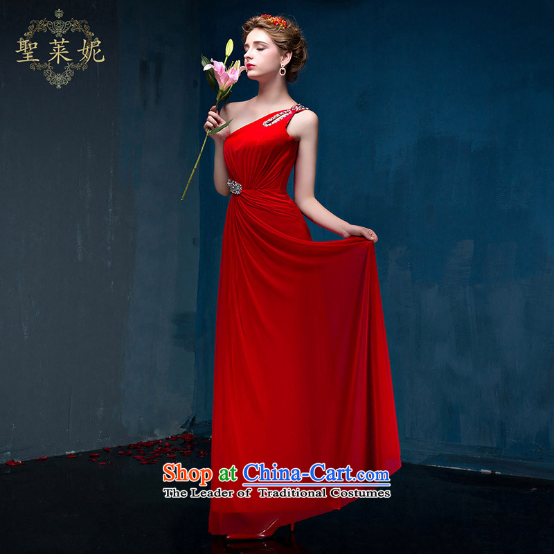 The Holy her in the summer of 2015, the new bride satin and fashion Beveled Shoulder Ms. shoulder bows dress red�L