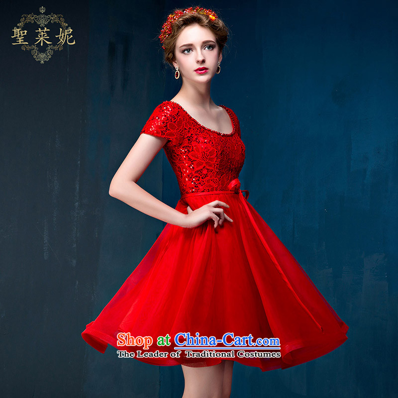 Married Women's dress dresses summer red bride bows Service, 2015 New Sau San for larger shoulders lace engraving bridal dresses red S