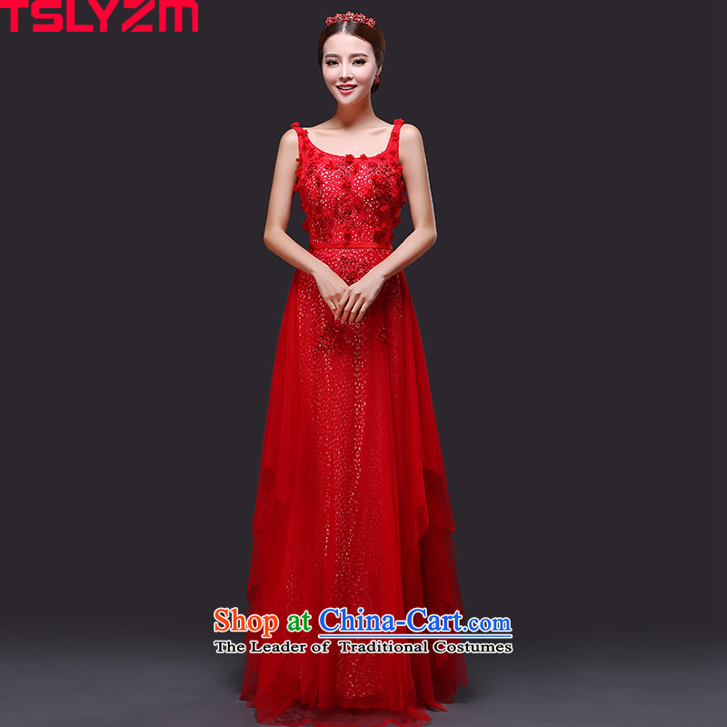 Toasting champagne wedding services longer tslyzm (Korean Style shoulders round-neck collar bride wedding dress of autumn and winter 2015 new high-lumbar video thin banquet dinner dress red?S