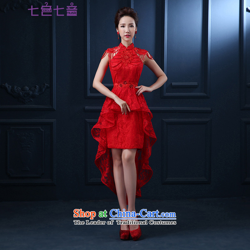 7 color tone won seven new summer edition 2015 Sau San red front stub long after marriages banquet dress bows service,?red tailored L049 _does not allow_