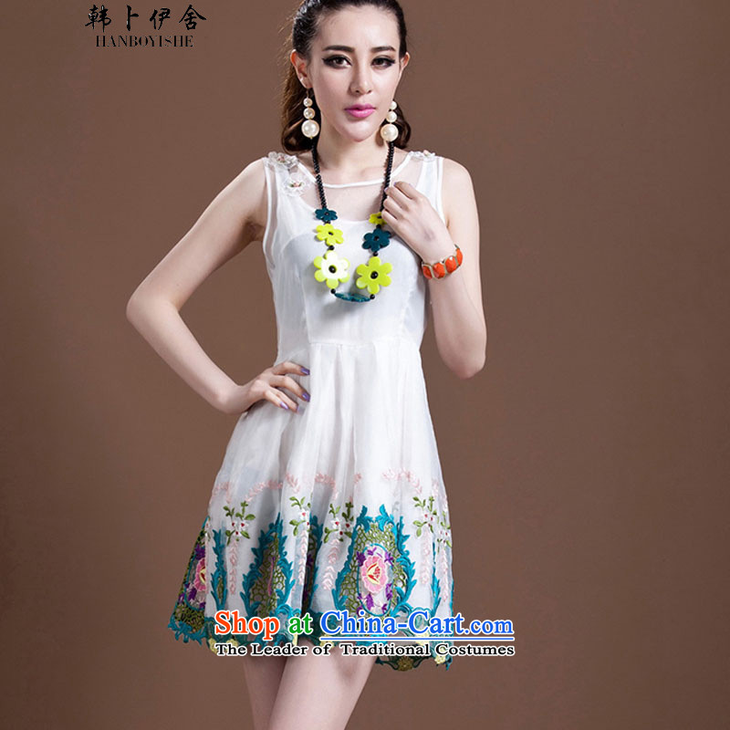 Korea Pu esher? fragmented new women's western princess bon bon skirt embroidered embroidery OSCE root yarn dresses generation 2636029115 white?L