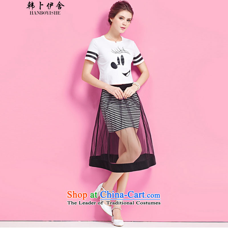 Korea Pu esher� fragmented summer the Gaza women short-sleeved Mickey stamp streaks dresses generation 263655260 white�S