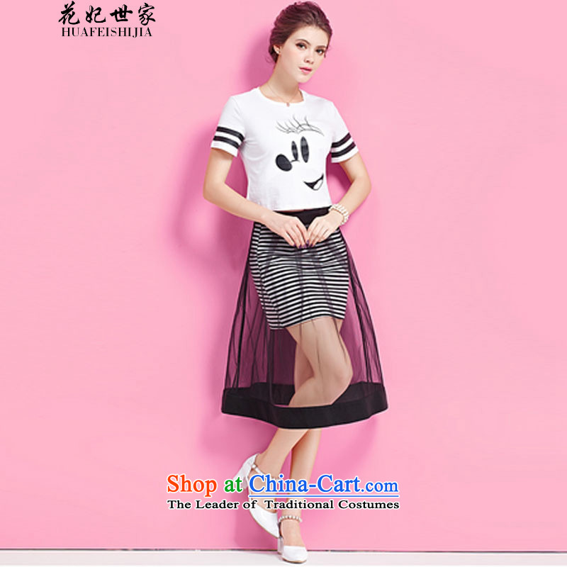 Take concubines and summer the saga sha female short-sleeved Mickey stamp streaks dresses generation 263655260 White�XL