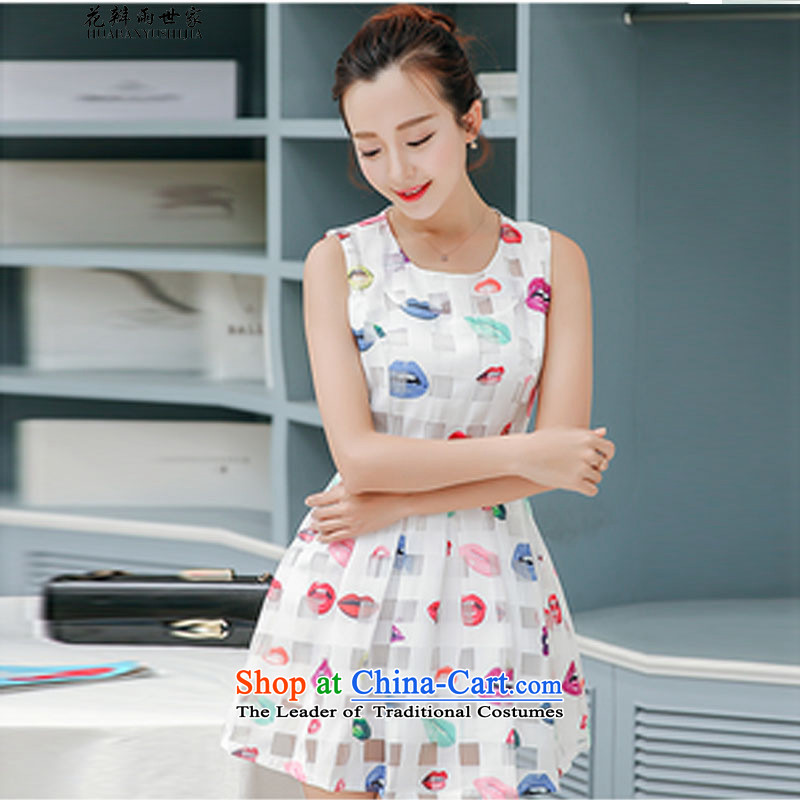 The introduction of the Paridelles summer rain petals lips Sau San bon bon sleeveless tank dresses in 40880140 White聽XL