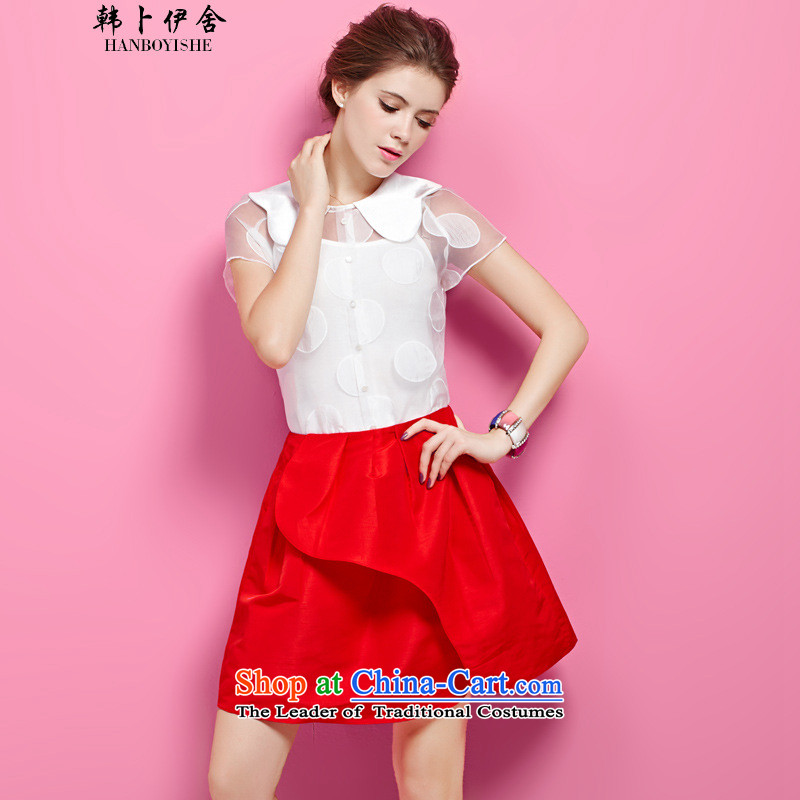 Korea Pu esher� fragmented summer OSCE root yarn shirt stylish loose chiffon forming the Netherlands female package generation 263655585 White�M