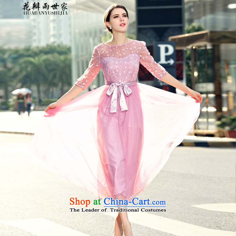 Rain family�  should be summer petals new women in cuff chiffon Netting Embroidery in long skirt large dresses generation 263651280 pink�L