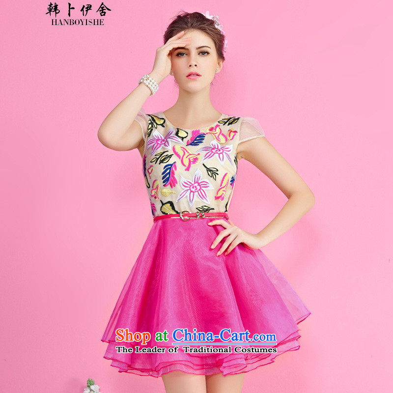 Korea Pu esher? fragmented female embroidery Korean Sau San stitching short-sleeved princess skirt the yarn bon bon skirt generation 2636528120 lemon yellow?S