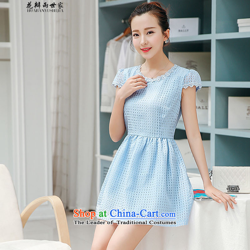 The introduction of the Paridelles petals rain new summer of European root yarn lace Korean dresses in Sau San 40880035 M Blue