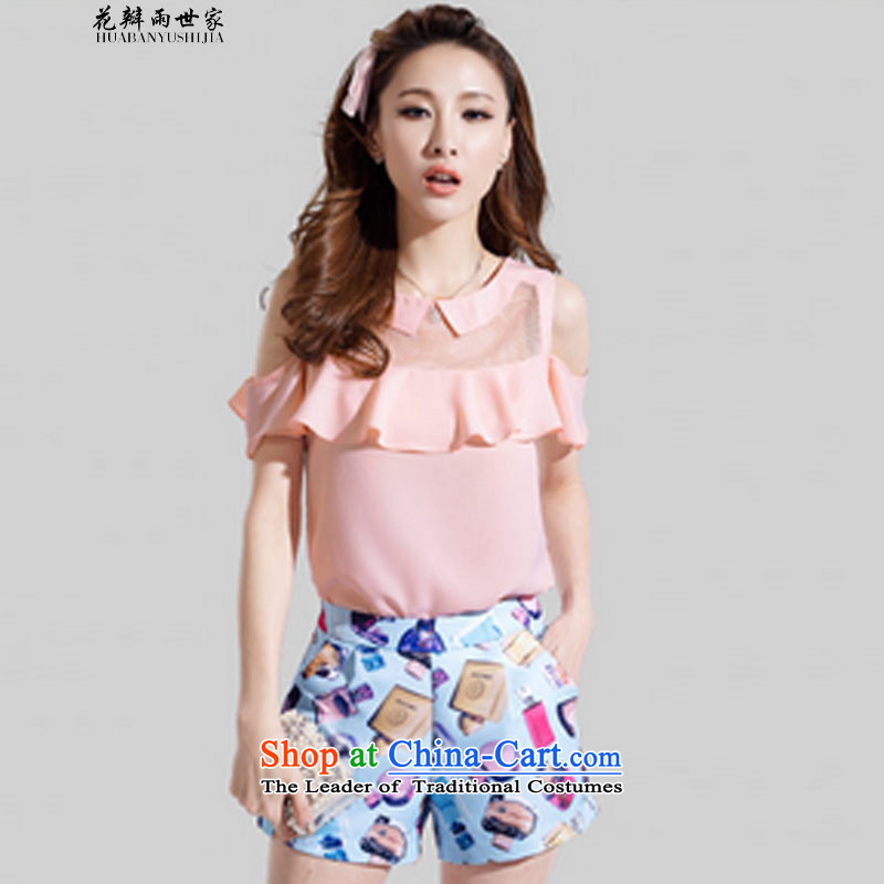 The introduction of the Paridelles petals rain two kits for larger blouses bare shoulders chiffon short-sleeved stamp stylish package 327B980339 complaints pink S