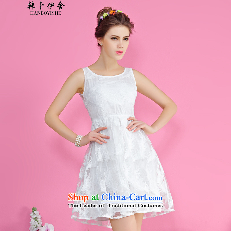 Korea Pu esher� fragmented retro embroidery back dresses of the Korean yarn bon bon skirts short skirts generation 263653150 White�M