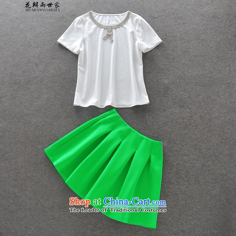 The introduction of the Paridelles petals rain Recreation Fashion diamond short-sleeved T-shirt silver light green Top Loin body skirt kit complaints 327B950738 White聽M