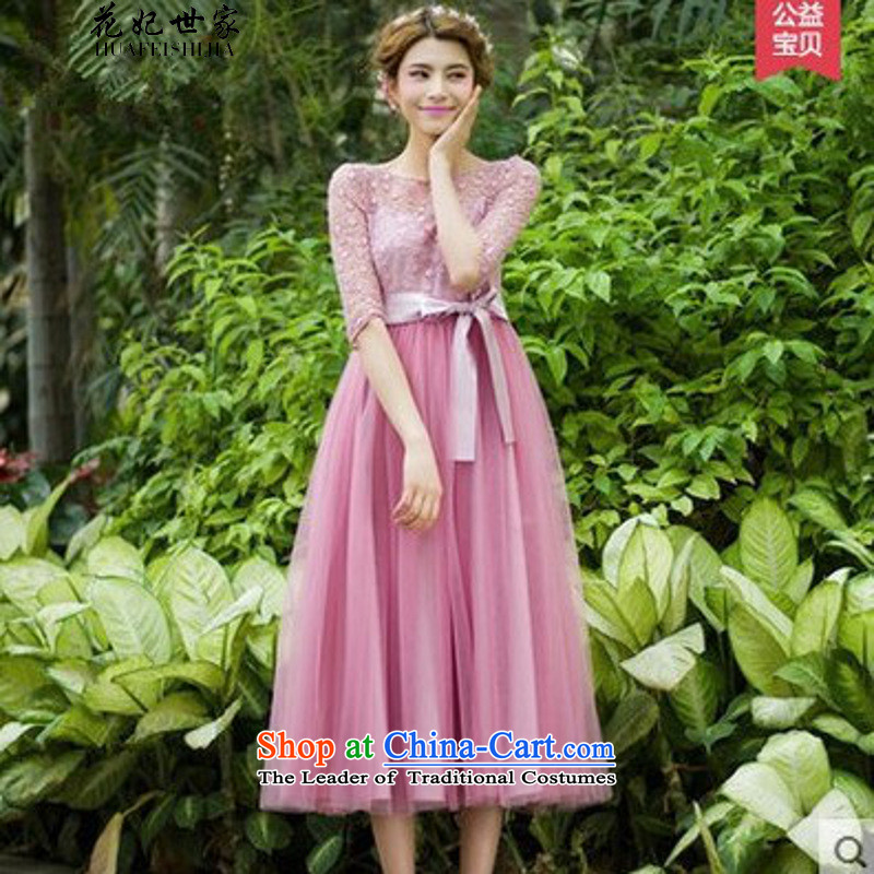 Take concubines and family summer new women in cuff chiffon Netting Embroidery in long skirt large dresses generation 263651280 pink�XL