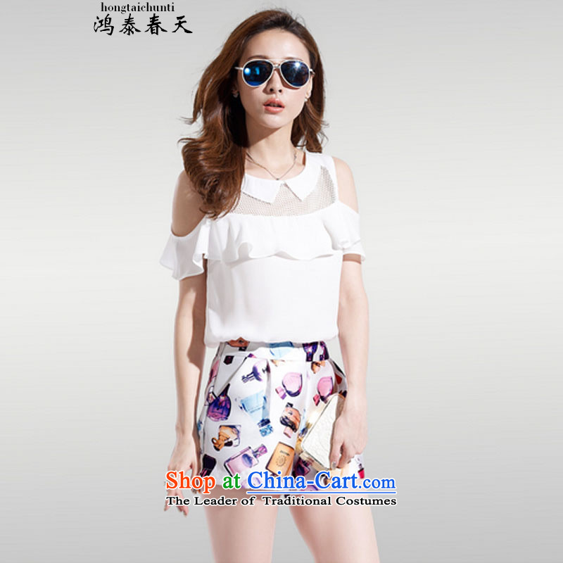 Hong Tai spring? δ two kits for larger blouses bare shoulders chiffon short-sleeved stamp stylish package 327B980339 complaints White?XL